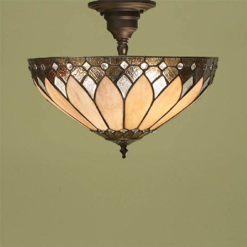 Brooklyn Semi Flush Ceiling Light (Art Deco) (Tiffany style) TF63978-17